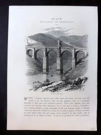Picturesque Europe C1875 Antique Print. Bridge of Alcantara, Spain